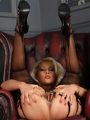 Sexy Blonde Lana Strips Down To Her Lingerie And Fucks Her Pussy With A Dildo^leggy Lana Nylon Pics Picture Free Gallery